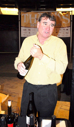 Winemaker Egelhoff shows off his creations.